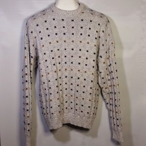 Knit Pullover Sweater Heather Gray Square-Dots